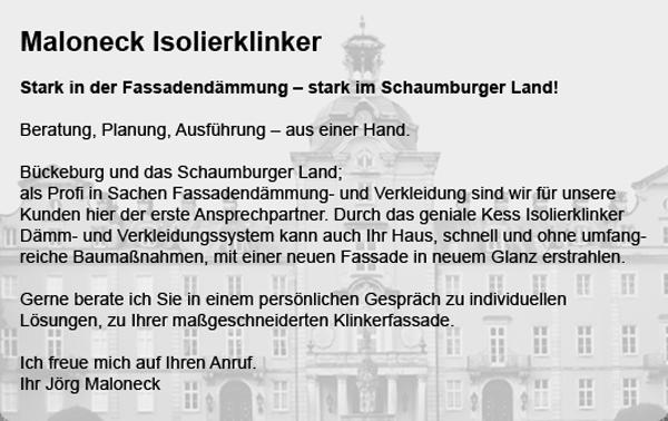 Maloneck Isolierklinker Fassadendämmung Gebäudedämmung im Schaumburger Land